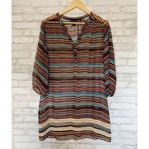 Ella Moss Silk Chevron Sheer Crochet Tunic Top